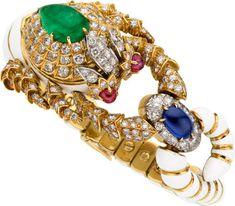 Diamond, Emerald, Sapphire, Ruby, Enamel, Gold Bracelet, David Webb Enamel Jewelry, Jewelry Art, Antique Jewelry, Jewelry Bracelets, Jewelery, Vintage Jewelry, Fine Jewelry, Jewelry Design, Jacqueline Kennedy Onassis