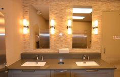 Commercial Restrooms | Commercial Construction | John Petrocelli Construction | New York ... Bathroom Interior, Modern Bathroom, Choir Room, Comfort Room, Toilette Design, Washroom, Bathroom Sinks, Toilet Sink