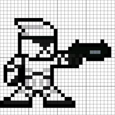 Clone Trooper (Revenge of the Sith) Perler Bead Pattern Tiny Cross Stitch, Cross Stitch Embroidery, Cross Stitch Patterns, Easy Perler Bead Patterns, Perler Bead Templates, Hama Beads, Perler Bead Art, Pixel Art Templates, Minecraft Templates
