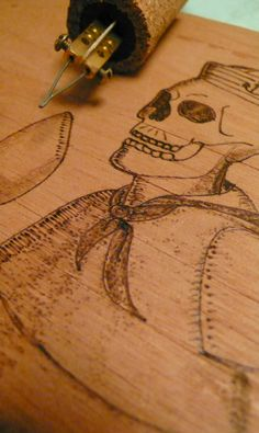 Skull Sailor - Wood Hand Made - Pyrography by Paula Maia, via Behance