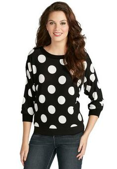 Cato Fashions Polka Dot Lace Back Sweater - Plus #CatoFashions