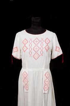 1920's Dress // Hungarian Embroidered Cross Stitch Dress