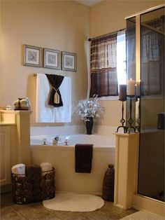 Master Bath, love the nestled HUGE bathtub and separate shower.