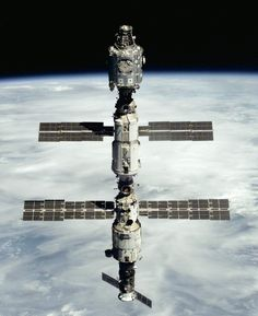 The International Space Station seen from the departing Space Shuttle Atlantis on mission STS-106 following the arrival of the Russian Zvezda Service Module.