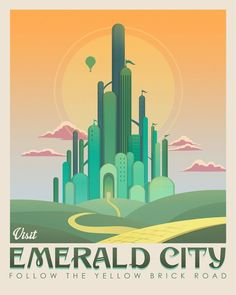 Emerald city art The wizard of oz Yellow brick road Dorothy Wizard Of Oz Film, Wizard Oz, Dinosaur Posters, Train Posters, Plakat Design, Land Of Oz, Yellow Brick Road, City Illustration, Emerald City