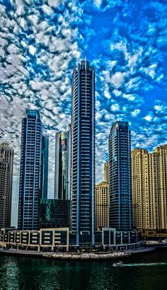 Very interesting urban landscape photograph of Dubai Marina, shoot with three photographs integrated in HDR