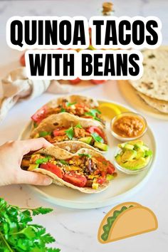 These Quinoa Tacos are perfect for your vegetarian night dinner. Everyone will love the flavors of this healthy dish, and you'll be so glad it's easy to make and easy clean up! Quinoa Tacos, Daniel Fast Recipes, Healthy Dishes, Food Heaven, It's Easy, Dinner Recipes, Beans, Vegetarian, Diet