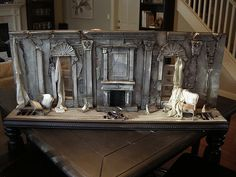 scale Death of a Grand Dame / After the Blitz Room Box Dollhouse Miniatures Scale Custom Room Box or Diorama by Ken Haseltine, Death of a Grand Dame / After the Blitz Scale, long x. Miniature Rooms, Miniature Houses, Haunted Dollhouse, Dollhouse Miniatures, Haunted Mansion, Stage Design, Set Design, Design Model, Halloween Miniatures
