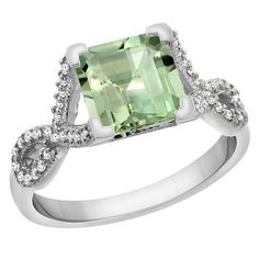 14K White Gold Natural Green Amethyst Ring Square 7x7 mm Diamond Accents, size 6, Women's