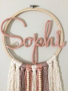 Dream catcher with name large personalized wall decoration door sign letter baby room gift birth name tag baptism Personalized Wall Decor, Wall Ornaments, Birth Gift, Crochet Decoration, Ideias Diy, Diy Décoration, Easy Diy, Baby Room Decor, Nursery Decor