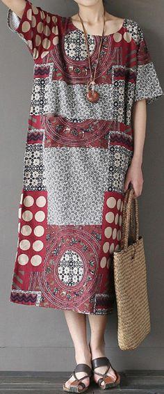 US$ 17.27 Ethnic Printed Short Sleeve O-Neck Pockets Midi Dress For Women