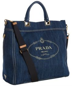 prada Blue Denim Logo Print Tote Bag - Lyst
