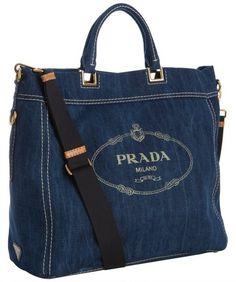 prada Blue Denim Logo Print Tote Bag - Lyst