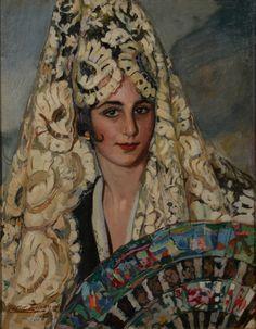 """La pintura """"Manola con mantilla blanca"""" de 1918, de Antonio Ortiz Echagüe. El legado de los hermanos Ortíz Echagüe, tres artistas de principios de siglo XX, se expone por primera vez, en Buenos Aires."""