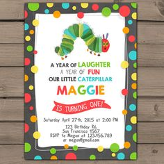 Very Hungry Caterpillar invitation Caterpillar invite Hungry caterpillar party invitations Birthday party Kids party Digital Printable DIY
