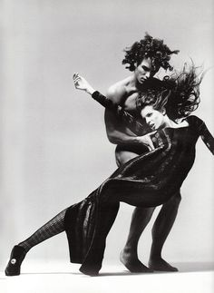 Fashion Editorial Stephanie Seymour & Marcus Schenkenberg by Richard Avedon for Gianni Versace Vogue Italy, July 1993