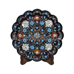 Decorative Black Marble Inlay Wall Plate Cum Serving Plate Inlaid With Semi Precious Gemstones For Home Decor Antique Art Piece Green Marble, Black Marble, Paua Shell, Marble Wall, Pen Holders, Wall Plaques, Antique Art, Semi Precious Gemstones, Plates On Wall