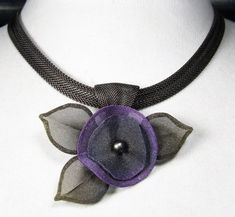 Pansy Flower with Leaves Necklace by Sarah Cavender. 16
