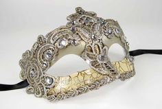 Vintage Gorgeous Venetian Mardigras Masquerade Fancy Mask w/ Brocade Crystals…