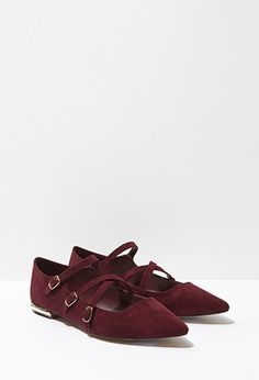 Faux Suede Strappy Flats | Forever 21 - 2000184152