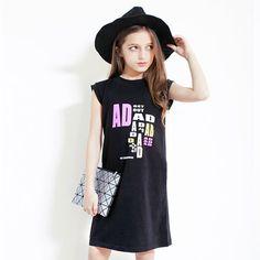 $25.00 (Buy here: https://alitems.com/g/1e8d114494ebda23ff8b16525dc3e8/?i=5&ulp=https%3A%2F%2Fwww.aliexpress.com%2Fitem%2F2016-Summer-Black-Dress-For-Girls-Cute-Dresses-For-Teenagers-Dress-Girl-Summer-Large-Size-Kids%2F32642727836.html ) 2016 Summer t shirt  Dress For Girls Formal Dresses Teenagers  Dress Girl Summer Teen Girls Clothing vestido infantil for just $25.00