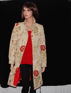 Apostrophe Long Coat in Crimson and Chartreuse Brocade - only on eBay.