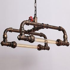 Water Pipe Retro 2Light Painting Pendant - USD $ 208.99