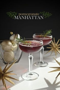 Pomegranate Manhattan is a seasonal twist on a classic cocktail! Find the recipe at Shutterbean.com