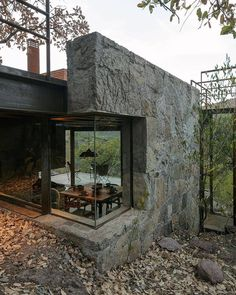 The combination of stone and glass is unusual and that's one of the details which make the cabin special Office houses design plans exterior design exterior design houses home architecture house design houses Cabin Design, Modern House Design, Loft Design, Design Design, Design Ideas, Future House, Future City, Architecture Design, Windows Architecture