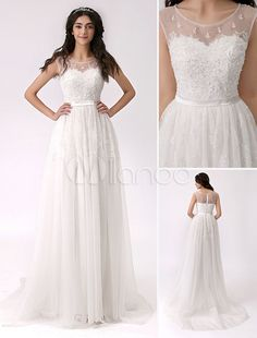 Lado frisado fenda renda vestido de noiva com decote de ilusão - Milanoo.com