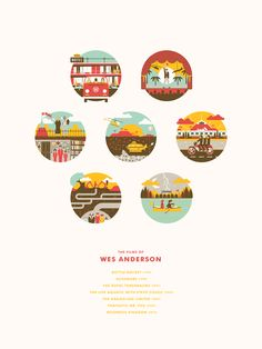 The Movies of Wes Anderson Print : Bottle Rocket, Rushmore, Royal Tenenbaums, Life Aquatic, Darjeeling Limited, Fantastic Mr Fox, & Moonrise Kingdom
