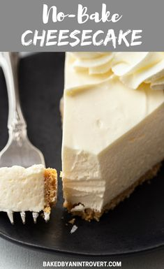 Ultra creamy and smooth No-Bake Cheesecake is exactly what hot summer days call for. The luscious cheesecake filling rests on a graham cracker crust and it all comes together in a snap. #bakedbyanintrovertrecipes #cheesecake #nobake
