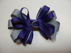 Plum Purple and Gray Hair Bow Back Boutique Toddler by HareBizBows