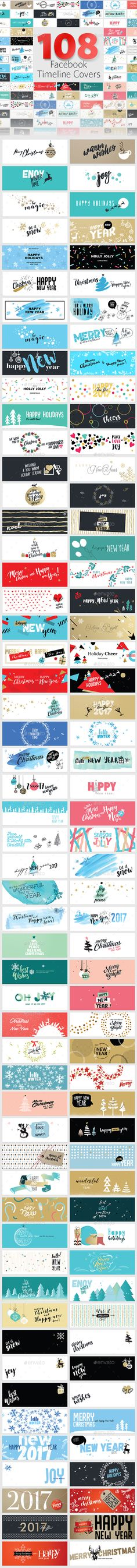 Christmas and New Year's Facebook Covers — Photoshop PSD #marketing #vector • Download ➝ https://graphicriver.net/item/christmas-and-new-years-facebook-covers/19167459?ref=pxcr