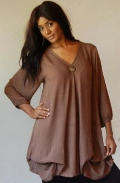 TAUPE BLOUSE TOP COCO BUTTON PLEAT - FITS (ONE SIZE) - L 1X 2X - B154 LOTUSTRADERS LOTUSTRADERS. $40.99