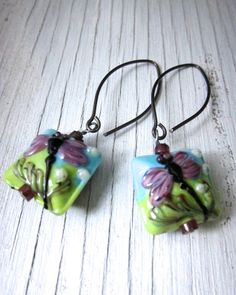PINK DRAGONFLY: Lampwork Earrings, Murano Glass Earrings, Handcrafted Jewelry, Glass Drop Earrings, Boho Chic, Handmade Jewelry, $35.00