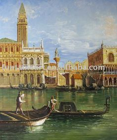 Handmade Venice Grand Canal 1800's Gondolas Italian Oil Painting-in Painting & Calligraphy from Home & Garden on Aliexpress.com