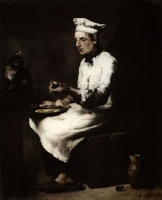 Cook eating his morning meal by Théodule Ribot