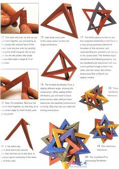 五相交四面体折纸,连接就有教程罗