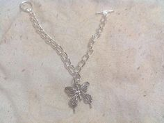 butterfly charm bracelet with toggle clasp by craftyandsassygirls, $15.00