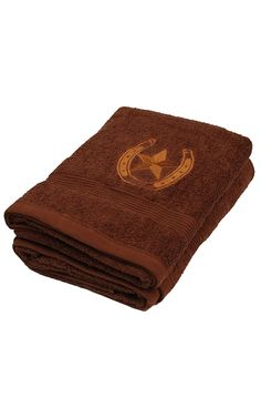 M Western Moments Brown Lone Ride Horseshoe And Star Bath Towel