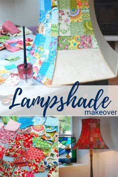 DIY Whimsical Lampshade Makeover – Sewing With Scraps Wire Lampshade, Lampshade Redo, Fabric Lampshade, Painted Lampshade, Lampshade Ideas, Lamp Ideas, Diy Ideas, Craft Ideas, Lamp Makeover