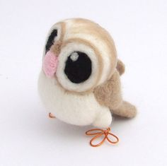 Barn Owl in Soft Beige Needle Felt Bird от feltmeupdesigns на Etsy