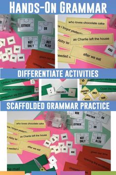 Visually teach grammar with this set of grammar manipulatives! Teach grammar concepts such as punctuation, prepositions, conjunctions, and more with this hands-on activity. Grammar Games, Grammar Practice, Grammar Activities, Teaching Grammar, Grammar Lessons, Grammar Worksheets, Teaching Writing, Teaching English, Grammar Review