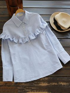 To find out about the Half Placket Frill Trim Pinstripe Blouse at SHEIN, part of our latest Blouses ready to shop online today! Cute Blouses For Work, Blouses For Women, Hijab Fashion, Fashion Outfits, Stylish Dresses For Girls, Iranian Women Fashion, Pastel Outfit, Casual Hijab Outfit, Blouse Models