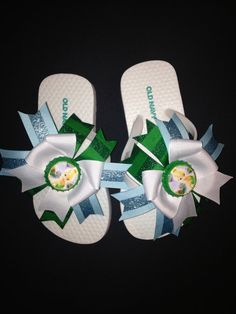 Tinkerbell Bow Flip Flops  by laceeeyb88 on Etsy, $10.00