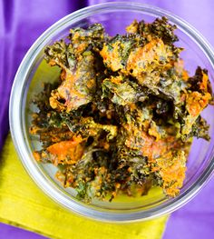 "Spicy ""Cheesy"" Kale Chips  I made a batch yesterday and they are delicious!! I didn't add all the peppers called for in the recipe. Use these instead of croutons on a salad!"