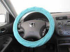 Knit Steering Wheel Cover - aqua