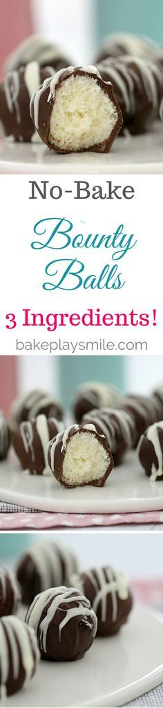 3 Ingredient Bounty Balls These No-Bake 3 Ingredient Bounty Balls are ready in no time at all… and taste just like a real Bounty bar!These No-Bake 3 Ingredient Bounty Balls are ready in no time at all… and taste just like a real Bounty bar! Easy Chocolate Desserts, No Bake Desserts, Easy Desserts, Delicious Desserts, Dessert Recipes, Yummy Food, Chocolate Smoothies, Chocolate Shakeology, Baking Desserts