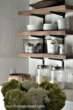 our vintage home love kitchen. Love the basket, ironstone, hydrangeas. Oh! Everything!